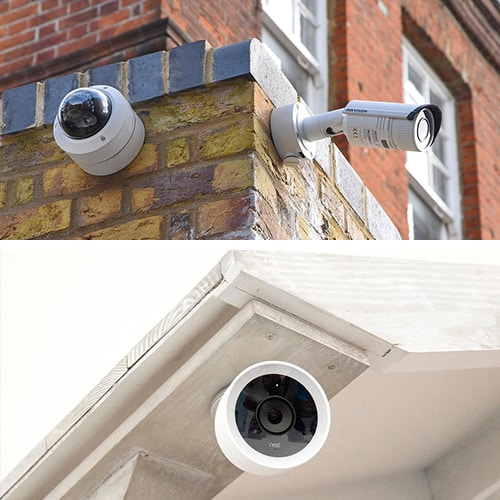 Images of wired and wireless security cameras